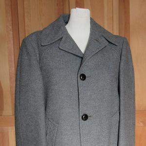 MCM Gray Flannel Wool Tweed Pendelton Coat 44/46